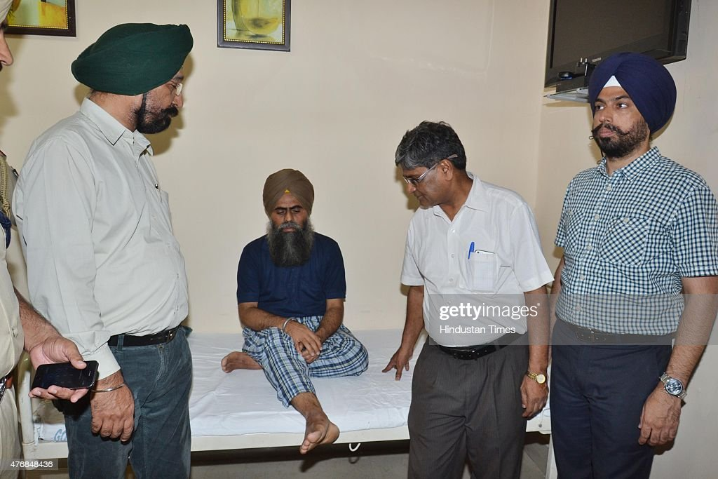 Doctors and police officials talking with Khalistani terrorist Devinder Pal Singh Bhullar who is admitted at psychiatry ward at Guru Nanak dev...