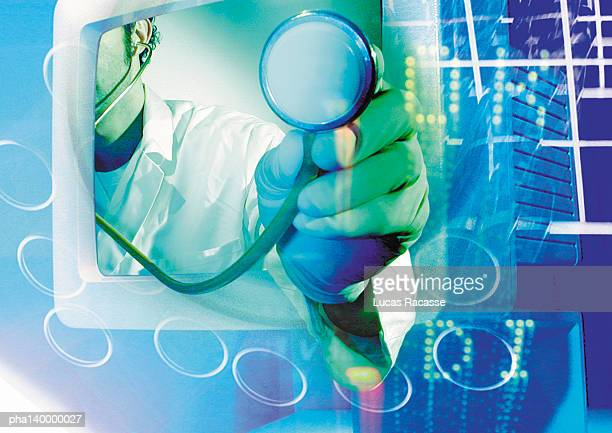 Doctor's arm emerging from computer monitor, holding stethoscope, digital composite.