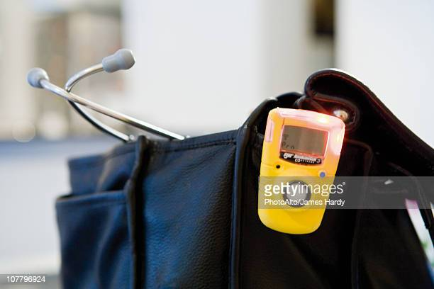Doctor's bag and capnometer, a device used to measure carbon dioxide levels