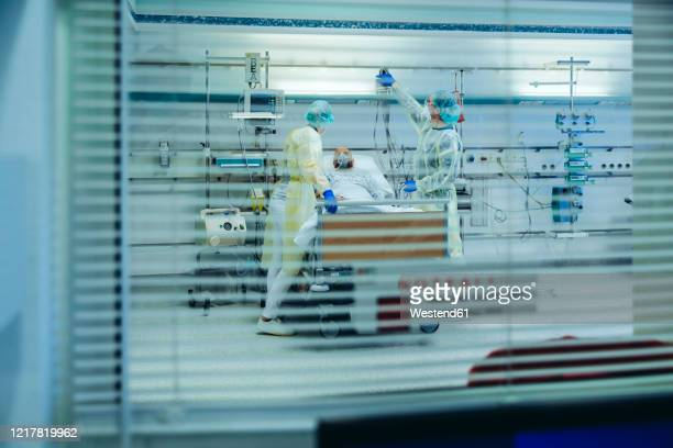 doctors behind sunblind caring for patient in emergency care unit of a hospital with respiratory equipment - imagenes de pacientes en la unidad de cuidados intensivos fotografías e imágenes de stock