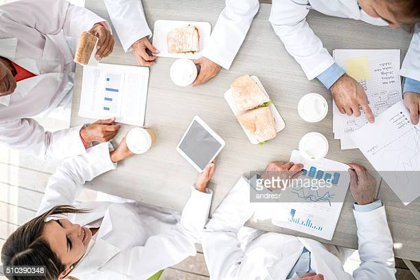 Doctors in a meeting at the cafeteria