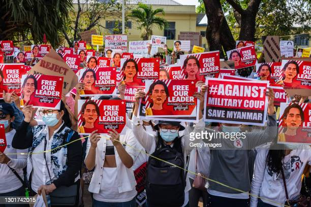 Doctors join a protest against the military coup in front of the Chinese Embassy on February 12, 2021 in Yangon, Myanmar. Myanmar declared martial...