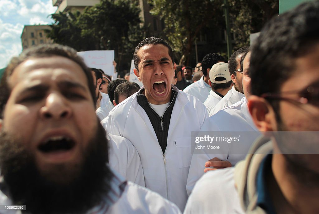 Doctors, medical workers and students march through Cairo to join anti-government protests in Tahrir Square on February 10, 2011 in Cairo, Egypt. Thousands of workers from various unions across Egypt, including many medical workers, have gone on strike today with protestors calling for a nationwide general strike. The wave of strikes is increasing pressure on the government following more than two weeks of protests calling for the resignation of President Hosni Mubarak.