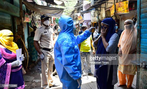 Doctors of Indian Medical Association conducted door to door screening camp, during nationwide lockdown due to COVID 19 pandemic at Dharavi, on April...
