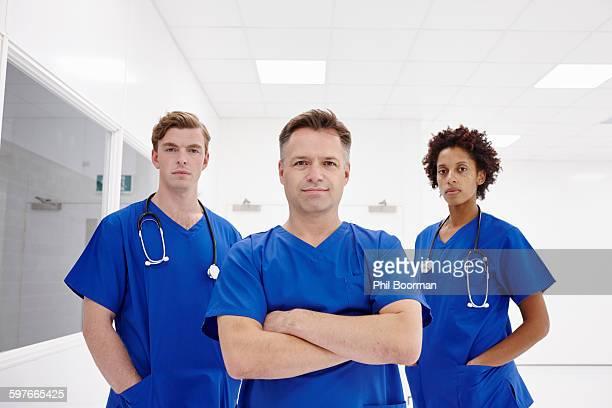 Doctors posing in hospital