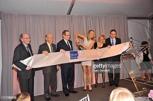 Doctors Steven Burakoff Kenneth L Davis philanthopist Glenn R Dubin and doctors Eva AnderssonDubin Elisa Port and George Raptis seen during a ribbon...