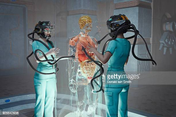 Doctors with robotic arms on helmet treating transparent patient
