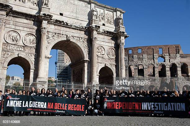 Doctors Without Borders remember victims of Kunduz massacre and ask for an independent investigation during a rally at the Coliseum in Rome on...