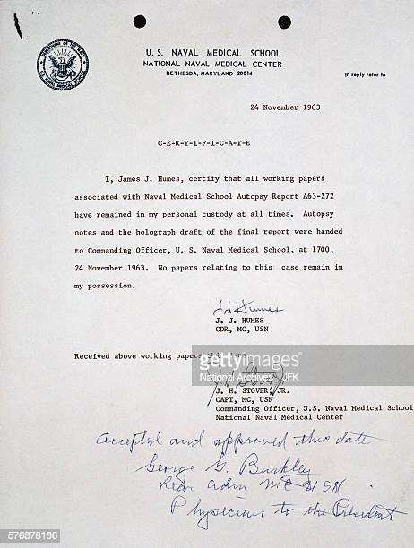 Document About President Kennedy's Autopsy Report
