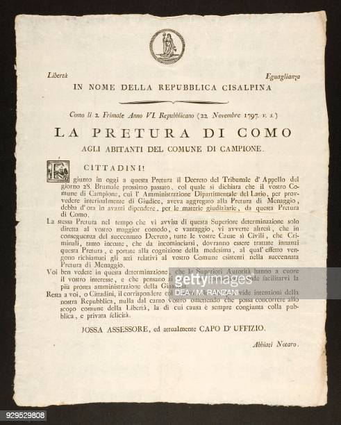 Document attesting to the passage of the judicial competence for Campione from the Dipartimento del Lario to the Pretura of Como November 22...