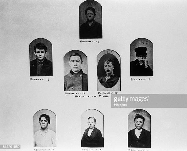 A document displaying the portraits ages and offenses of adolescent criminals executed by hanging at the Tombs