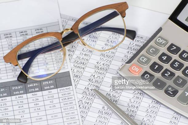 document financial accounting on office accountant desk - accounting stock photos and pictures