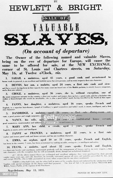 A Document showing the Sale of Slaves published on May 13 1835