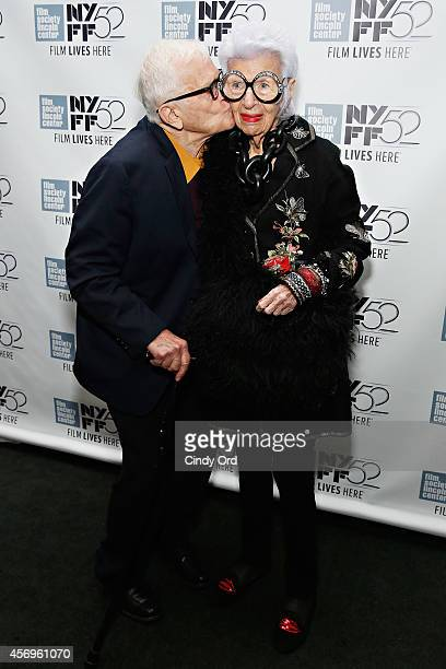 Documentary filmmaker Albert Maysles and fashion icon Iris Apfel attends the 'Iris' photo call during the 52nd New York Film Festival at Walter Reade...