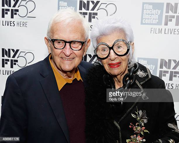 Documentary filmmaker Albert Maysles and fashion icon Iris Apfel attend the 'Iris' photo call during the 52nd New York Film Festival at Walter Reade...