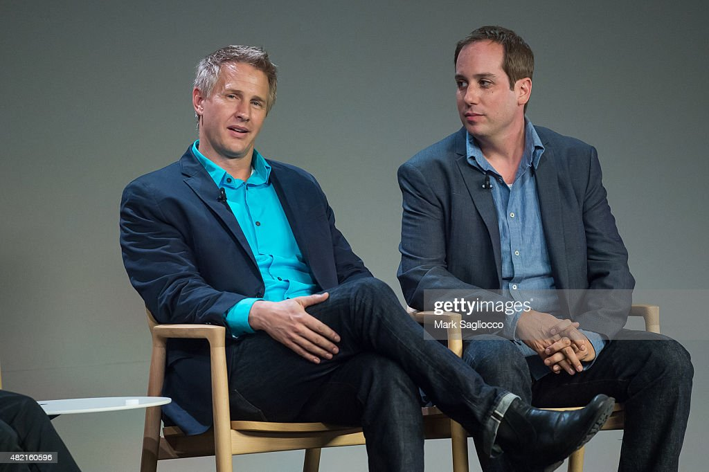 Documentary Filmmaker Daniel Junge (L) and Director Kief Davidson attend Meet the Filmmaker: 'A Lego Brickumentary' at the Apple Store Soho on July 27, 2015 in New York City.