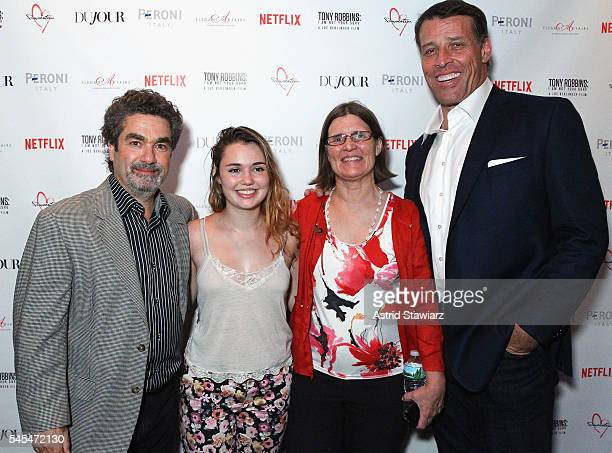 Documentary filmmaker Joe BerlingerClaire Sinofsky Florence Sinofsky and motivational speaker and film subject Tony Robbins attend the after party at...