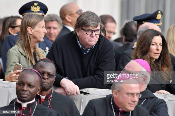 US documentary filmmaker Michael Moore attends the Pope's weekly general audience on October 17 2018 at St Peter's square in the Vatican
