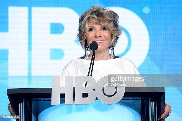 Documentary Films President Sheila Nevins speaks onstage during the HBO Winter 2016 TCA Panel at Langham Hotel on January 7, 2016 in Pasadena,...