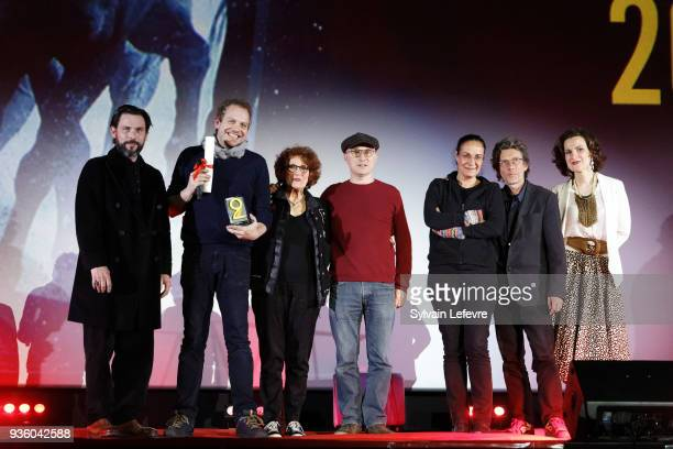 Documentary jury Sagamore Stevenin Karim Dridi Andrea Ferreol Fabienne Godet Nils Tavernier and director Pascal Colson and Armelle attend opening...