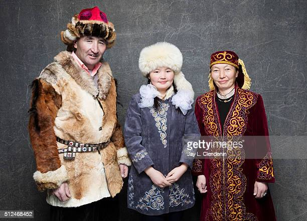 Documentary subject Aisholpan her father Agalai and mother Almagul from the film 'The Eagle Huntress' pose for a portrait at the 2016 Sundance Film...