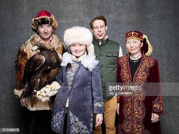 Documentary subject Aisholpan her father Agalai and mother Almagul and Otto Bell from the film 'The Eagle Huntress' pose for a portrait at the 2016...