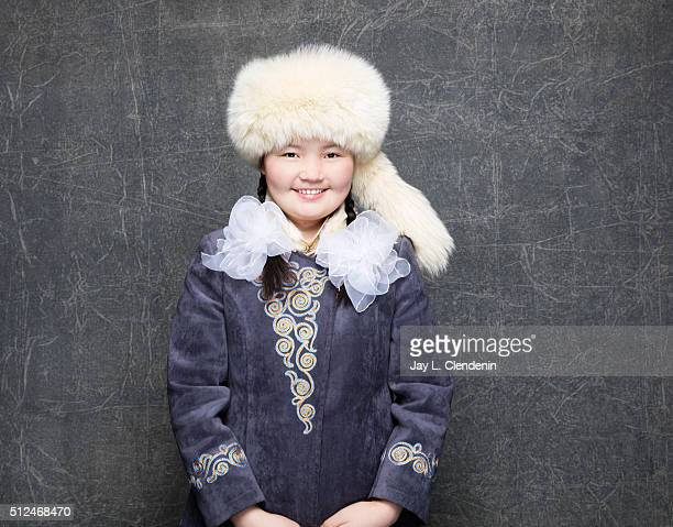 Documentary subject Aisholpan of the film 'The Eagle Huntress' poses for a portrait at the 2016 Sundance Film Festival on January 23 2016 in Park...