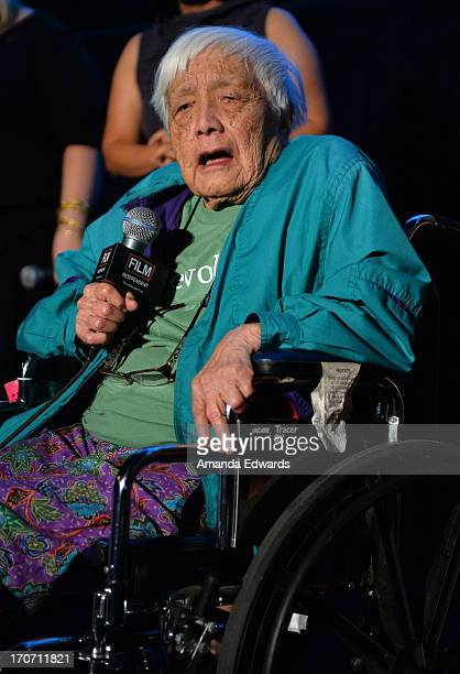 Documentary subject Grace Lee Boggs speaks onstage at the 'American Revolutionary' premiere during the 2013 Los Angeles Film Festival at American...