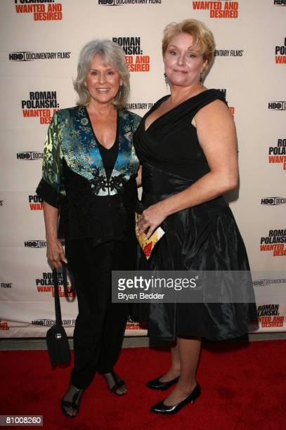 Documentary subjects Susan Gailey and Samantha Geimer arrive at the premiere of 'Roman Polanski Wanted And Desired' at the Paris Theatre on May 6...