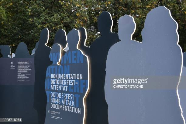 A documentation exhibition of the Oktoberfest attack is pictured during 40th anniversary memorial event of the Oktoberfest attack in Munich on...