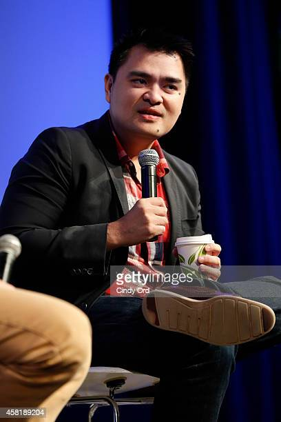 'Documented' director Jose Antonio Vargas speaks on stage during a panel discussion at the 17th Annual Savannah Film Festival on October 31 2014 in...