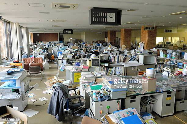 Documents and other files are scattered on the first floor of the Futaba town office on February 25 2014 in Futaba Fukushima Japan About 96 percent...