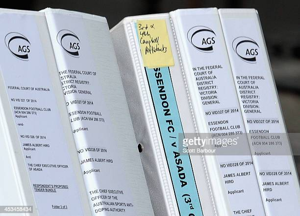 Documents arrive at the Federal Court ahead of the case looking into the AFLASADA Investigation into the alleged use of banned substances at the...