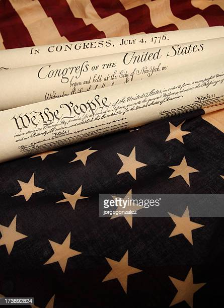Documents of America History and US flag