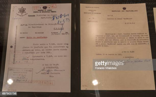 Documents on censorship and espionage during the Portuguese dictatorship are seen on display at the Aljube Museum Resistance and Freedom on June 18...
