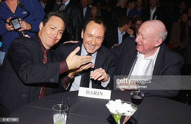 Dodd Darin son of singer Bobby Darin actor Kevin Spacey and former Bobby Darin manager Steve Blauner attend the after party following the opening...