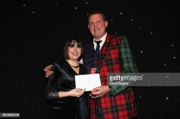 Doddie Weir the former Scotland international and Newcastle Falcons player receives the RUWC Special Award from RUWC chairman Sarah Mockford during...