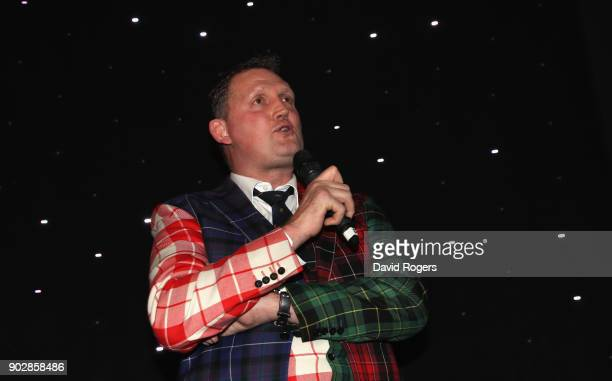 Doddie Weir the former Scotland international and Newcastle Falcons player address the audience during the Rugby Union Writers' Club Annual Dinner...