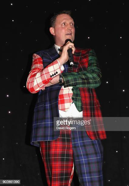 Doddie Weir the former Scotland international and Newcastle Falcons player addresses the audience during the Rugby Union Writers' Club Annual Dinner...