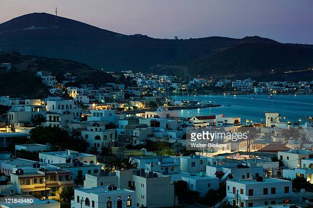 Dodecanese Islands-PATMOS-Skala: Town view and harbor at evening, Greece