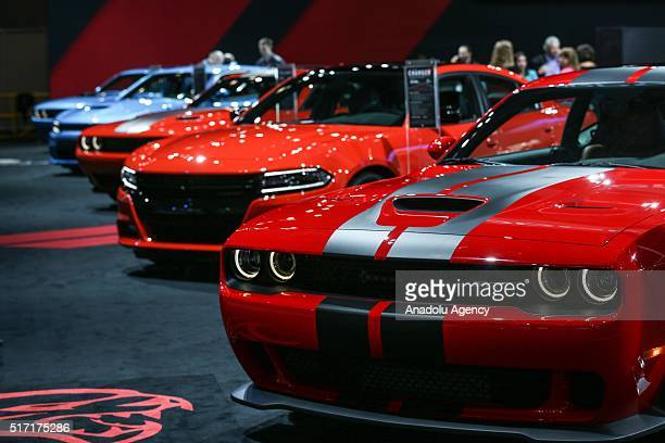 Dodge Challenger and Dodge Charger model cars are on display during the 116th New York International Auto Show at the Javits Convention Center in...