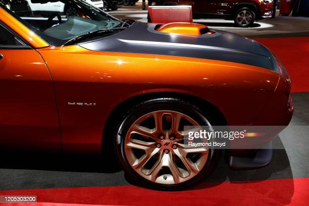 """Dodge Challenger is on display at the 112th Annual Chicago Auto Show at McCormick Place in Chicago, Illinois on February 6, 2020. """"n"""