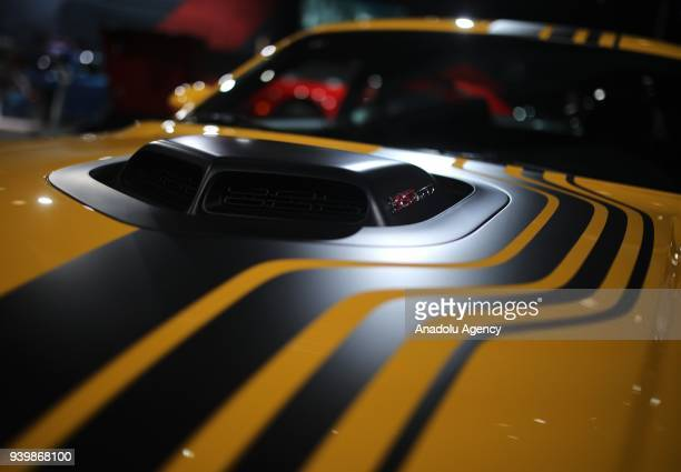 Dodge Challenger is on display during the New York Autoshow on March 29 2018 in New York United States