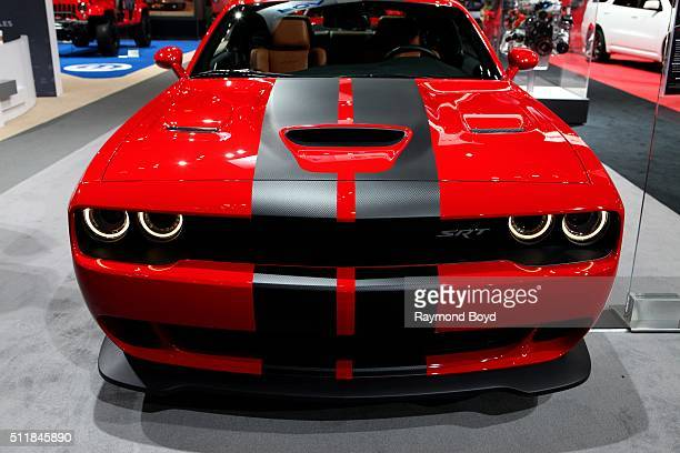 Dodge Challenger SRT Hellcat is on display at the 108th Annual Chicago Auto Show at McCormick Place in Chicago Illinois on February 11 2016