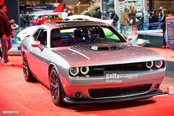 Dodge shows off a Hemipowered 2015 Challenger at the Chicago Auto Show during the media preview on February 13 2015 in Chicago Illinois The auto show...