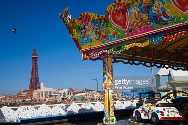 Dodgems and Blackpool Tower, Pleasure Beach Blackpool, Blackpool, Lancashire, England, UK