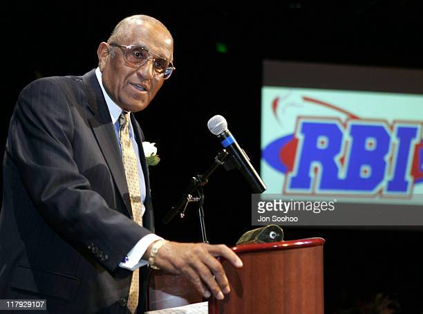 Dodger great Don Newcombe speaks during the RBI Dinner at the Globe Theatre Universal Studios Hollywood Theme Park Reviving Baseball in Inner Cities...