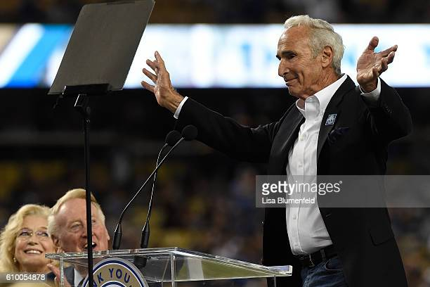 Dodger legend Sandy Koufax addresses the crowd during a retirement ceremony for Vin Scully before the game at Dodger Stadium on September 23 2016 in...