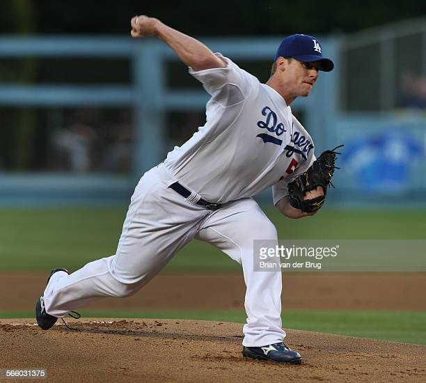 Dodger pitcher Chad Billingsley throws during the first inning as the Los Angeles Dodgers take on the Pittsburgh Pirates at Dodgers Stadium Friday...