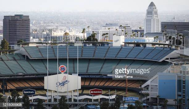 Dodger Stadium is viewed on what was supposed to be Major League Baseball's opening day now postponed due to the coronavirus on March 26 2020 in Los...